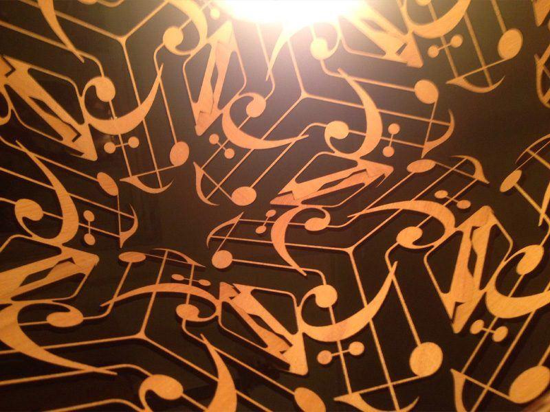 Detail of Musica in oak veneer